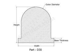 D-30 D Shaped Extruded Silicone Rubber.png
