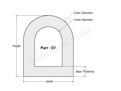 D-7 D shaped Extruded Silicone rubber Seal 2D view.png