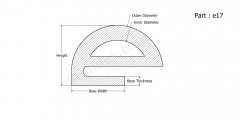 Part e17 - E shaped silicone rubber gaskets and seals