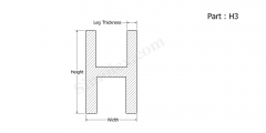 Part H3 - H shaped silicone rubber extrusion profiles