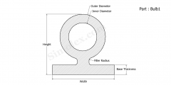 Part Bulb1 - Bulb Seals Silicone Rubber Gaskets and weather strips