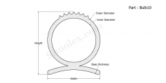 Part Bulb10 - Silicone rubber bulb seals and extruded rubber products