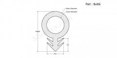 Part Bulb6 - Silicone Rubber Bulb Seals, Extruded Rubber Gasket