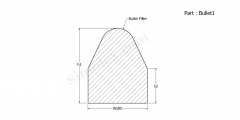Part Bullet1 - Bullet shaped Extruded rubber gasket, cord and seals