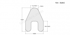 Part Bullet2 - Bullet shaped silicone rubber gaskets and extruded strips