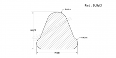 Part Bullet3 - Bullet shaped Extruded Silicone rubber