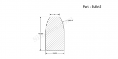 Part Bullet5 - Bullet shaped Extruded Silicone gaskets and seals