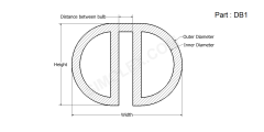 DB 1 - Double bulb Seal, Gasket Weather strips