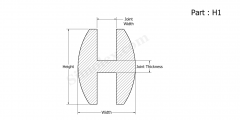 Part H1 - H Shaped Extruded Silicone Rubber Gaskets, Seals and Strips