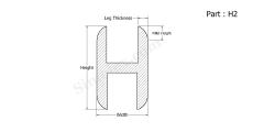 Part H2 - H shaped silicone rubber extrusion gaskets and seals