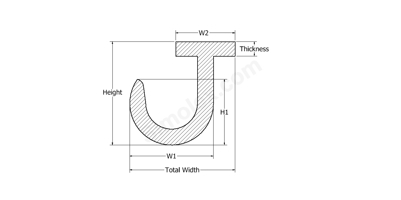 J shaped rubber extrusion